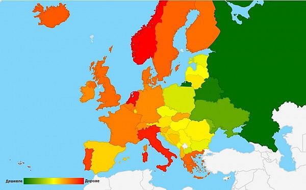 Petrol price in Europe