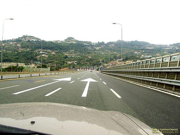 Италия, трасса Е-80 в районе Сан-Ремо
