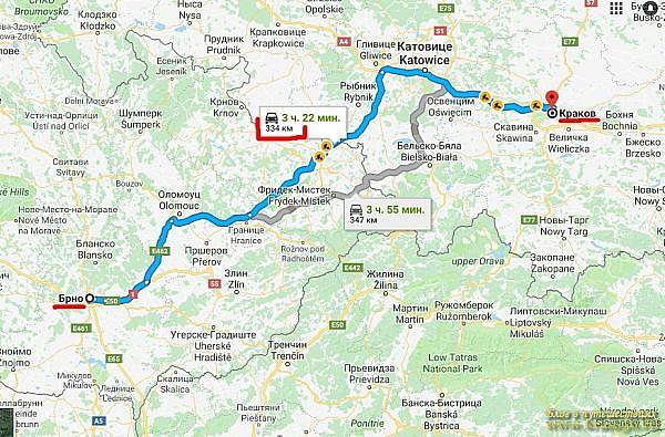 Расчет маршрута движения по Европе на автомобиле