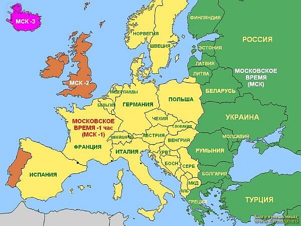 Летнее время в странах Европы, разница с московским временем, карта