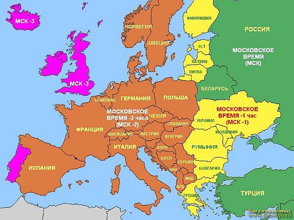 Зимнее время в странах Европы, разница с московским временем, карта