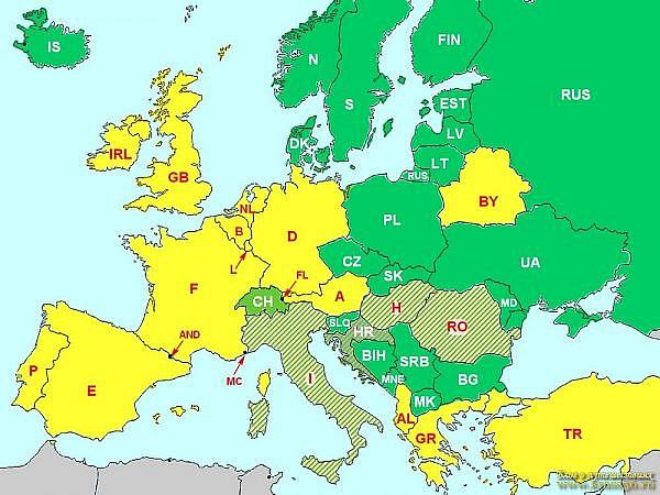 Использование ближнего света фар в Европе днем