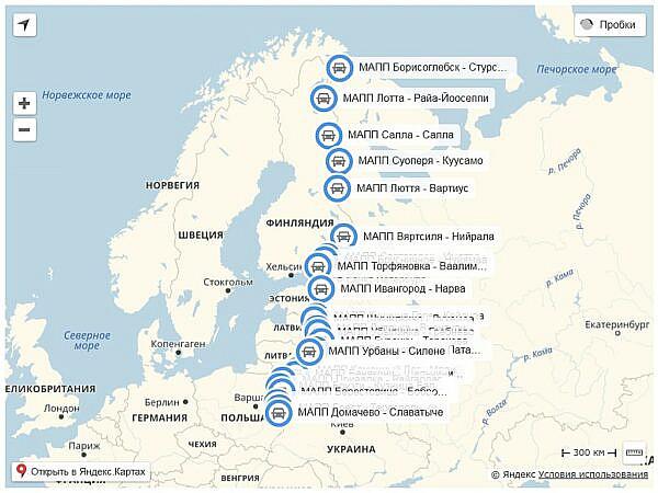 Карта всех МАПП для пересечения границы с Европой