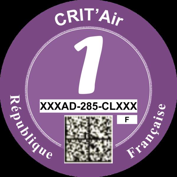 Экологическая наклейка, Франция (Crit'Air)