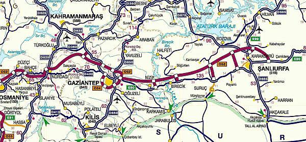 Платные дороги Турции район 5 Османия - Шанлыурфа