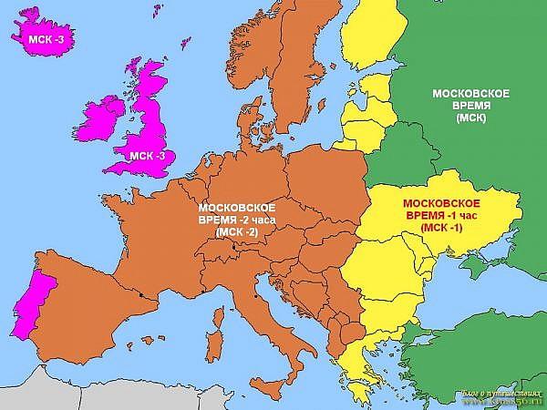 Разница времени в странах Европы с московским (зима)
