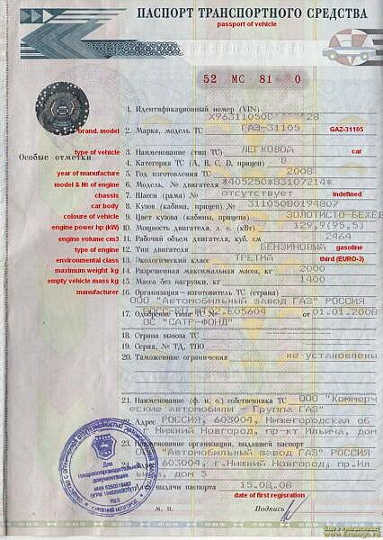 Копия ПТС для регистрации в LEZ Брюсселя