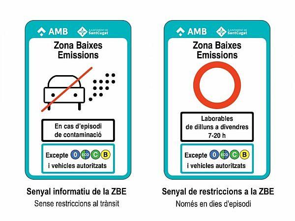 Знаки экологической зоны Барселона