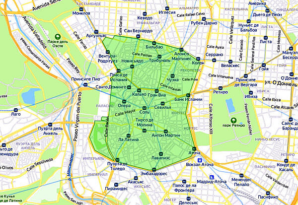 Экологическая зона Мадрид-центр (зона нулевых выбросов - ZEZ)