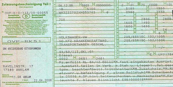 Свидетельство о регистрации ТС (часть 1), Германия
