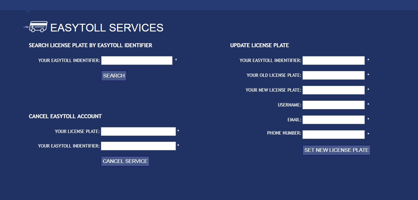 Отмена регистрации в системе EasyToll