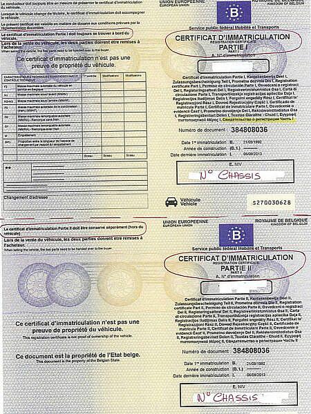 Свидетельство о регистрации авто, часть 1, Бельгия.