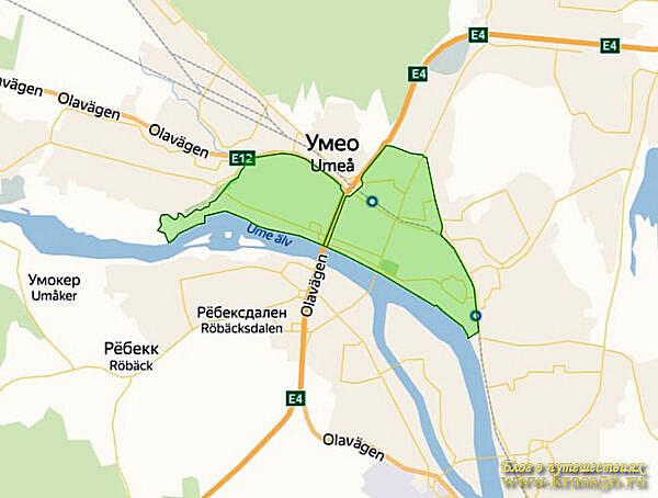 Ограничения движения - экологическая зона Умео, Швеция